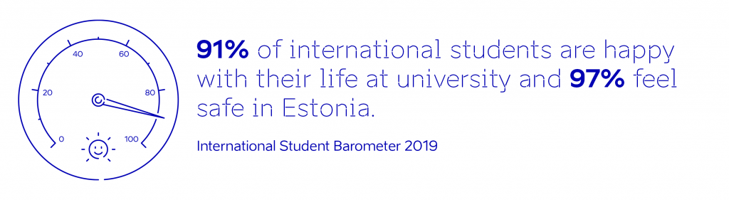 International Student Barometer 2019 - 91% of international students are happy with their life at university and 97% feel safe in Estonia.